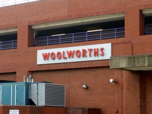 Old Woolworths sign at the back of Waremart in Middlesbrough