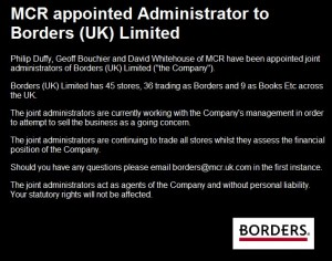 Message from the administrators on the Borders UK website tonight