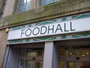 Old 'Food Hall' signage, Co-op, Newgate St, Newcastle (9 Nov 2009). Photograph by Graham Soult