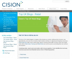 Cision's 'Top UK Blogs - Retail' page