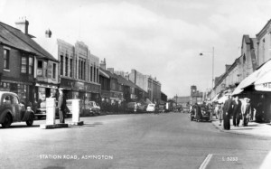 Old postcard showing Ashington Woolworths (posted 1959)
