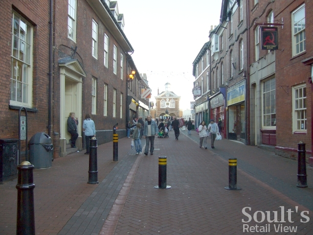 Market Street, Tamworth, looking towards the Town Hall (22 Dec 2008). Photograph by Graham Soult