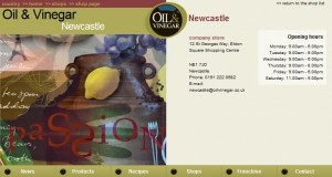 Page for the Newcastle store on the Oil & Vinegar website