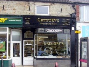 Gregory's bakers in Bishop Auckland (6 Feb 2010). Photograph by Graham Soult
