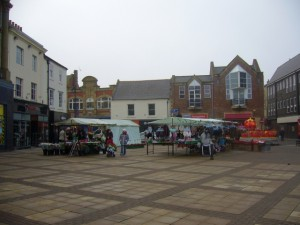 Market Place, Bishop Auckland (6 Feb 2010). Photograph by Graham Soult