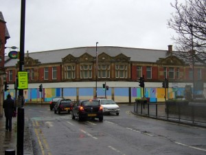 Former Co-op, Whitley Bay, featuring painted hoardings by Keith Barrett (16 Dec 2009). Photograph by Graham Soult