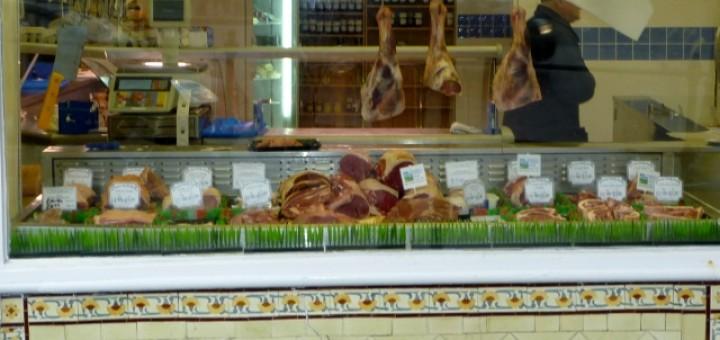 Butchers shop in Barnard Castle (6 March 2010). Photograph by Graham Soult