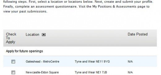 Screenshot of Jobs at Apple website (21 May 2010)
