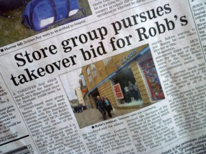 Coverage in the Hexham Courant, 28 May 2010. Photograph by Graham Soult