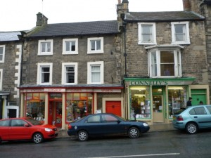 Independent shops on The Bank, Barnard Castle (6 March 2010). Photograph by Graham Soult