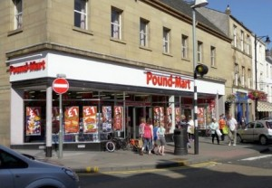 Pound-Mart's Cupar store (now Alworths), prior to closure. Photograph courtesy of Pound-Mart