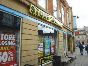 Store closing banner at Robbs (30 May 2010). Photograph by Graham Soult