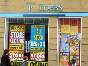 Closing down sale at Robbs in Hexham (30 May 2010). Photograph by Graham Soult