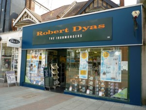 Old-style Robert Dyas in Harrow (14 May 2010). Photograph by Graham Soult