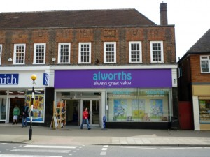 Former Woolworths (now Alworths) in Amersham (14 May 2010). Photograph by Graham Soult