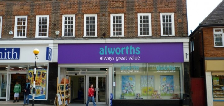 The now-closed Alworths in Amersham (14 May 2010). Photograph by Graham Soult