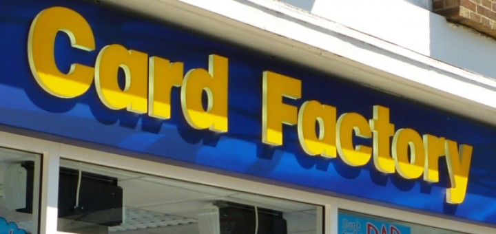 Typical Card Factory fascia. Photograph by Graham Soult