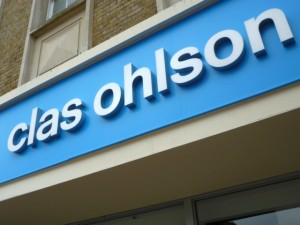 Clas Ohlson fascia. Photograph by Graham Soult