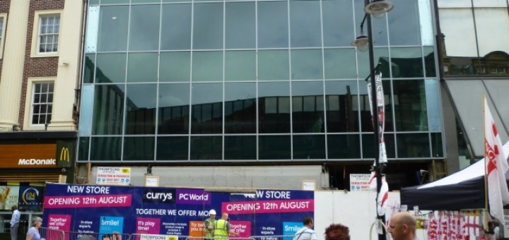 Upcoming PC World and Currys store in Northumberland Street, Newcastle (25 Jun 2010). Photograph by Graham Soult