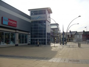 Exterior of Byron Place mall, Seaham (11 Sep 2009). Photograph by Graham Soult