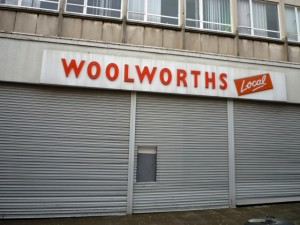 Former Woolworths, Peterlee (12 March 2010). Photograph by Graham Soult