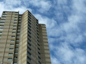 Owen Luder's Dunston Rocket tower block, also in Gateshead (11 April 2010). Photograph by Graham Soult