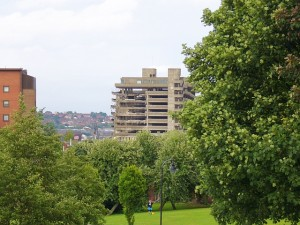 Gateshead car park from Windmill Hills Town Park (26 Jul 2010). Photograph by Graham Soult