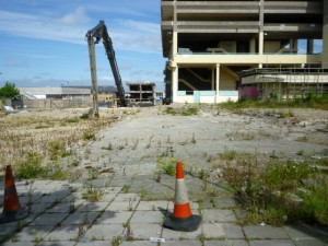 Surrounding buildings have already been demolished (18 Jun 2010). Photograph by Graham Soult