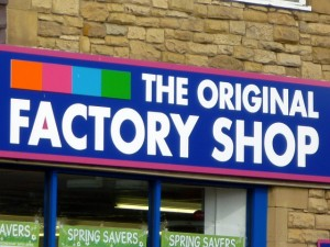 Original Factory Shop fascia. Photograph by Graham Soult