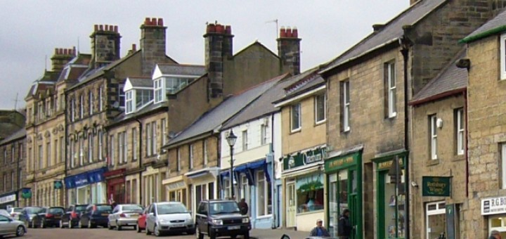 Rothbury's High Street (13 February 2010). Photograph by Graham Soult