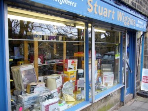 Stuart Wiggins electricals shop, Rothbury (13 February 2010). Photograph by Graham Soult