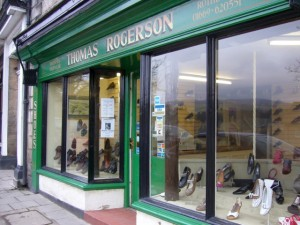 Thomas Rogerson shoe shop, Rothbury (13 February 2010). Photograph by Graham Soult
