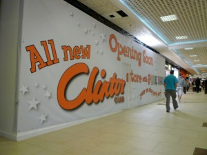 Upcoming Clinton Cards, Douglas Way, Eldon Square (6 Aug 2010). Photograph by Graham Soult