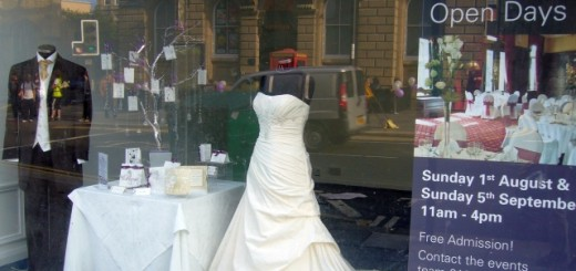 Wedding shopwindow display at Newcastle's County Hotel (2 Aug 2010). Photograph by Graham Soult