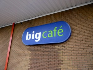 Big Cafe sign at Stockton's former Big W (31 Jul 2010). Photograph by Graham Soult