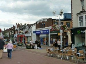 Horley's attractive High Street (4 Sep 2010). Photograph by Graham Soult