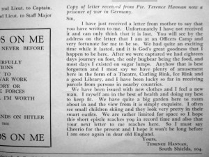 Terence Hannan's letter (click to enlarge). Photograph by Graham Soult