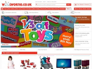 Screenshot of Shop Direct's Woolworths.co.uk site (2 Nov 2010)