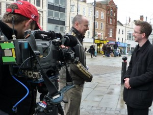 Graham filming with the BBC's Chris Jackson in Stockton High Street