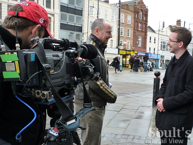 Filming with the BBC's Chris Jackson in Stockton High Street (22 Nov 2010)