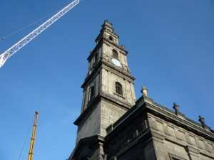 Cranes over the Holy Trinity Church, Leeds (21 Jan 2011). Photograph by Graham Soult