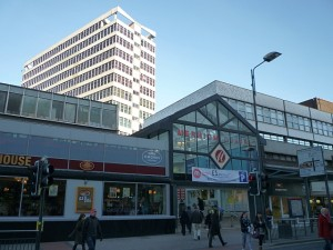Merrion Centre entrance, Leeds (21 Jan 2011). Photograph by Graham Soult