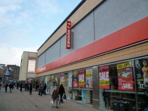 Former Woolworths (now TJ Hughes), Westfield Derby (23 Dec 2010). Photograph by Graham Soult