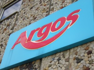 Old Argos logo, Sunderland (7 Sep 2009). Photograph by Graham Soult