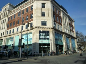 Clas Ohlson from top of Briggate, Leeds (21 Jan 2011). Photograph by Graham Soult
