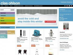 Screenshot of Clas Ohlson website (9 Feb 2011)