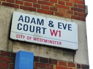 Adam & Eve Court sign at Eastcastle Street end (6 Apr 2011). Photograph by Graham Soult