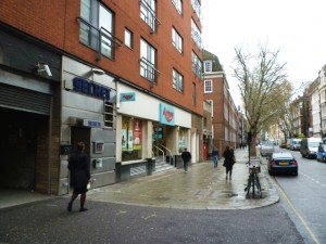 Grays Inn Road entrance to former High Holborn Woolworths (5 Apr 2011). Photograph by Graham Soult