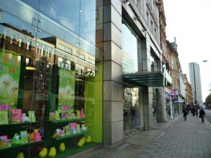 Former Woolworths (?) (now Paperchase), Tottenham Court Road (6 Apr 2011). Photograph by Graham Soult