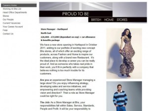 Screenshot of BHS Hartlepool job ad (9 May 2011)